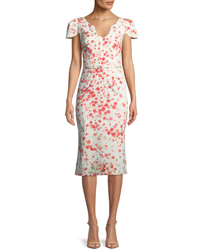 Belted Cap-Sleeve Sheath Dress