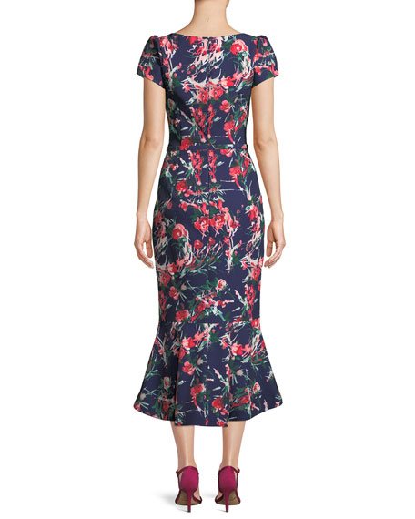 V-Neck Floral-Print Flutter Belted Dress