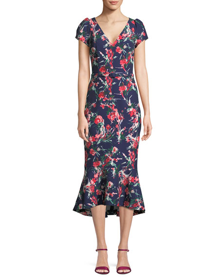 David Meister V-Neck Floral-Print Flutter Belted Dress