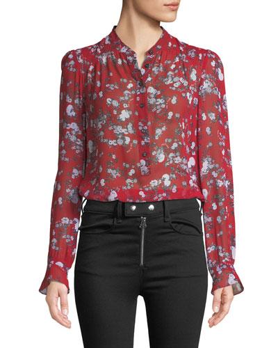 Susan Button-Down Floral-Print Silk Blouse