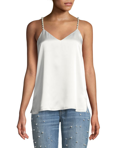 The Heidi Silk Charmeuse Camisole w/ Pearlescent Embellishments