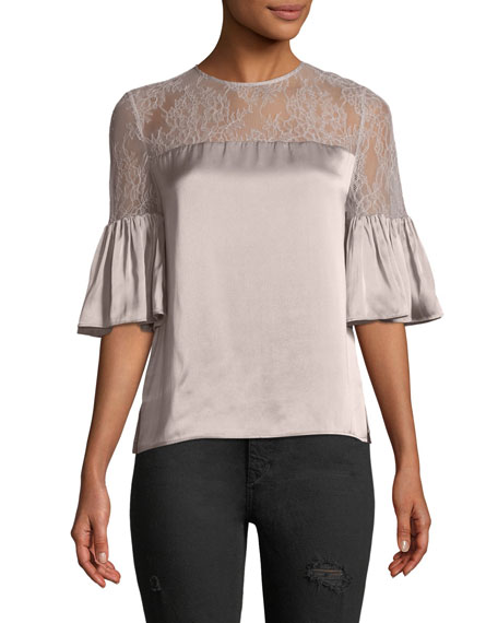 The Shauna Bell-Sleeve Silk Charmeuse Top w/ Lace