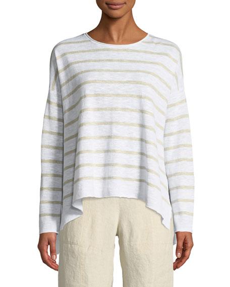 Striped Linen-Blend Slub Top