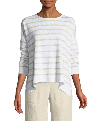 Striped Linen-Blend Slub Top