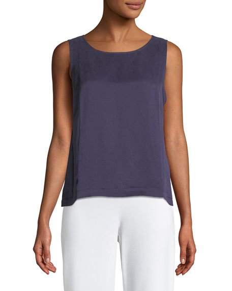 Eileen Fisher Linen/Silk Satin Shell Top
