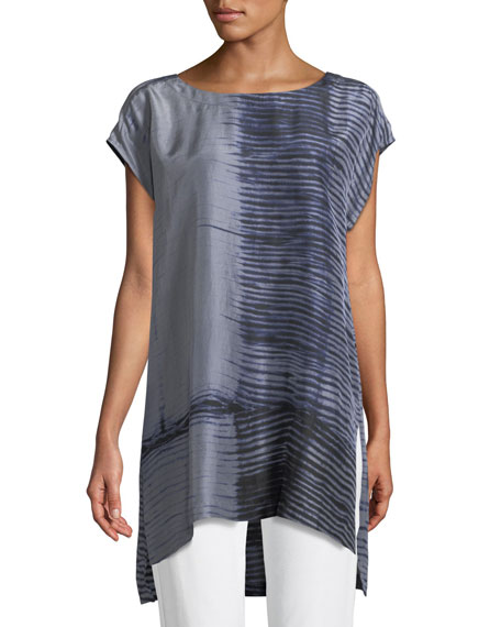 Eileen Fisher Indigo-Printed Sheer Silk Tunic and Matching