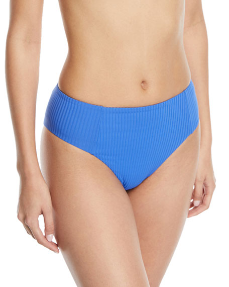 Vitamin A Sieena High-Waist Textured Swim Bikini Bottoms
