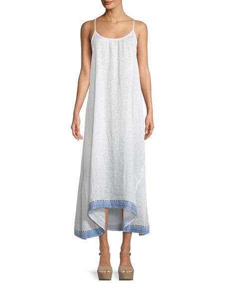 Tulum Sleeveless Linen Maxi Dress w/ Embroidered Hem