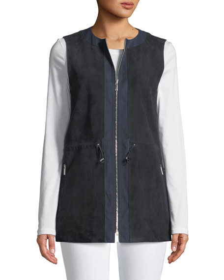 Lavine Perforated Suede Zip-Front Vest