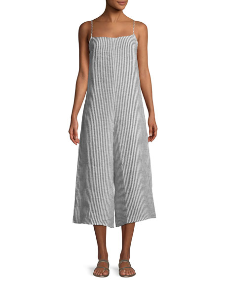 Stripe Linen Wide-Leg Coverup Jumpsuit
