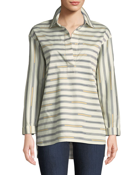 Beckett Industry Stripe Stretch-Cotton Blouse