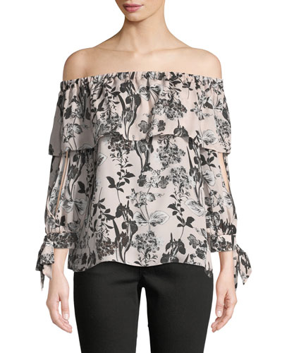 Mandy Off-the-Shoulder Silk Blouse