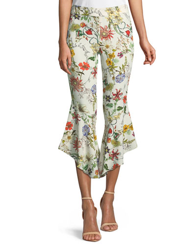 Zizi Flared-Leg Cropped Floral Pants