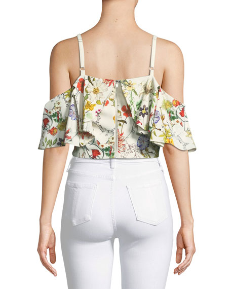 Maybel Floral-Print Cold-Shoulder Crop Top