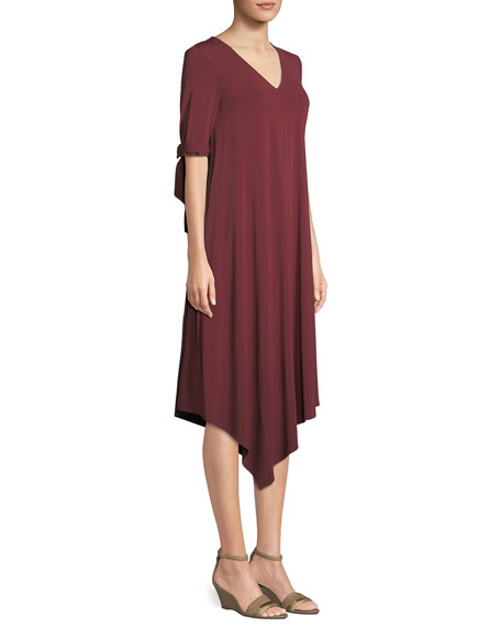 Noor Cultivated Crepe Jersey Tie-Cuff Dress