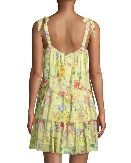 Vicky Sleeveless Tiered Floral-Print Silk Dress