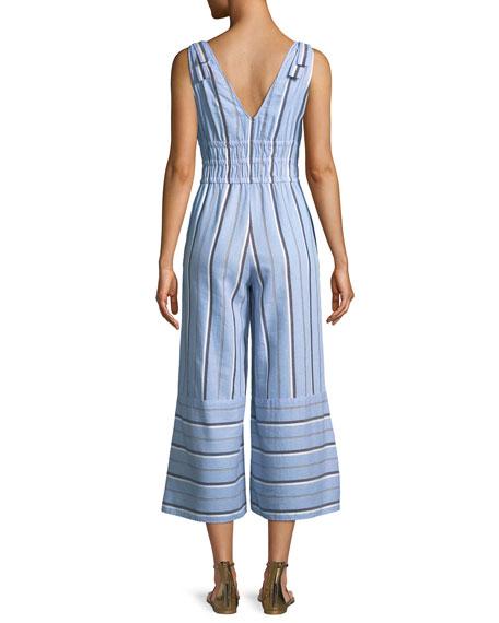 Kelly V-Neck Sleeveless Flared-Leg Striped Jumpsuit