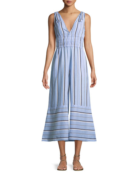Kelly V Neck Sleeveless Flared Leg Striped Jumpsuit by Red Carter