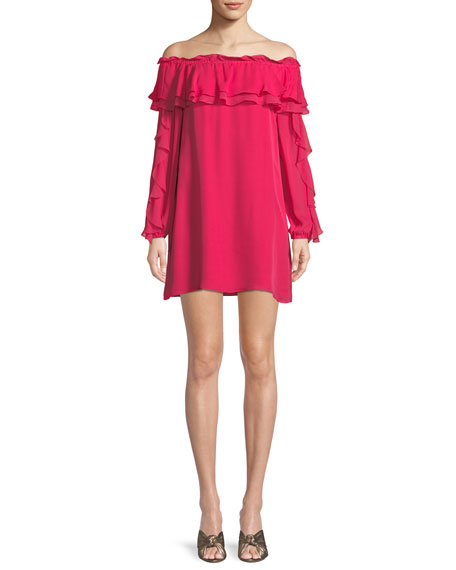 Isa Silk Off-the-Shoulder Ruffle Mini Dress