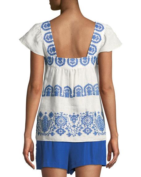Embroidered Linen Flutter-Sleeve Blouse