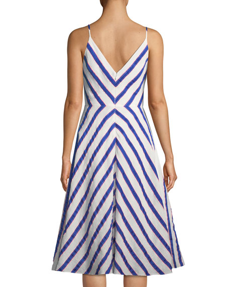 Monroe Chevron Linen-Stretch Midi Dress