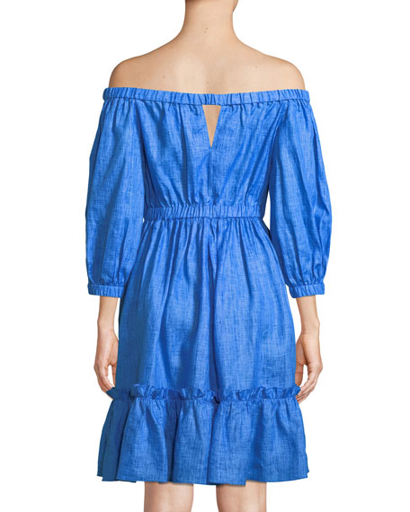 Amanda Linen Off-the-Shoulder Dress