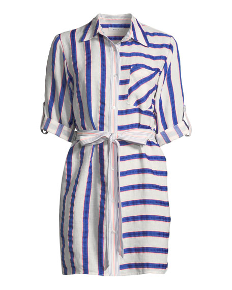 Split-Striped Tie-Waist Linen-Stretch Shirt Dress