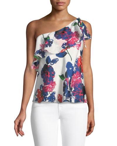 Positano Floral-Print Silk One-Shoulder Top