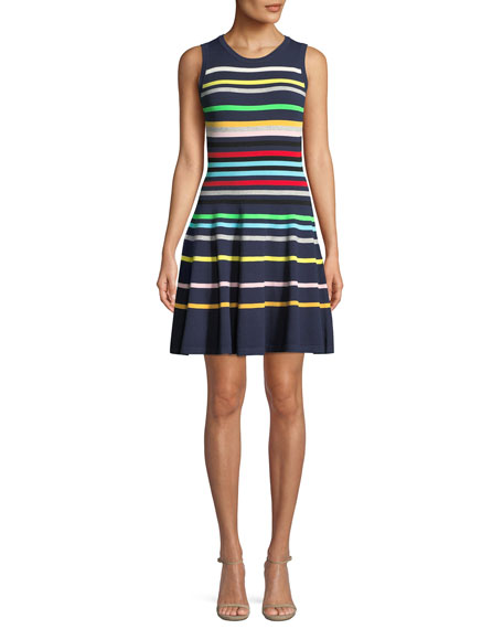 Rainbow Striped Flare Dress