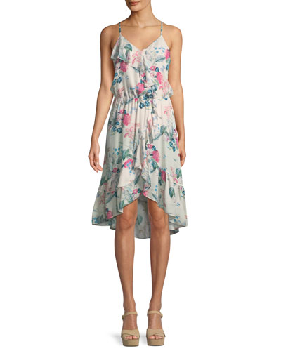 Saylor Floral-Print Silk Wrap Dress