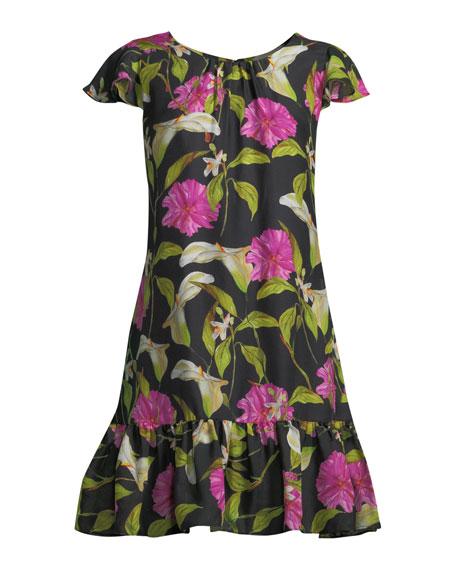 Jill Floral-Print Silk Flounce Dress