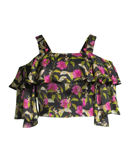 Audrey Floral-Print Ruffled Top