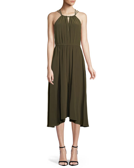 Milly Mykonos Cross-Back Halter Dress