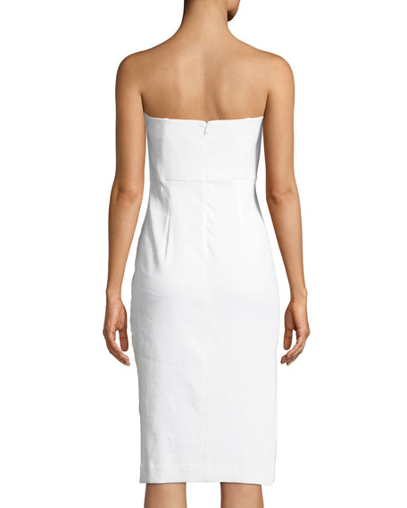Eva Strapless Linen-Stretch Sheath Dress