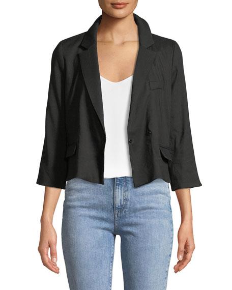 Milly 3/4-Sleeve Cropped Blazer