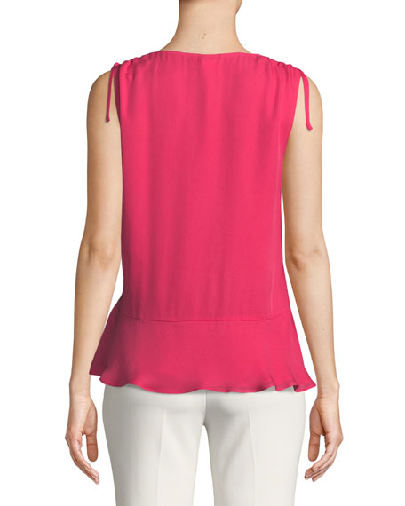 Warnen Silk Asymmetric Ruffle Top