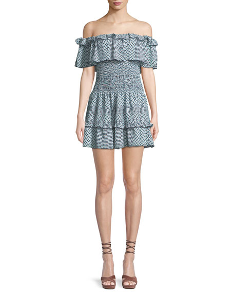 Hali Silk Off-the-Shoulder Mini Dress
