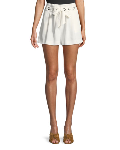Vale Pleated Grommet Shorts