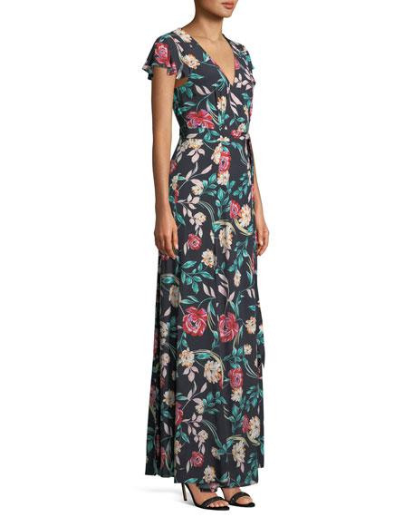 Kayla Floral-Print Wrap Maxi Dress