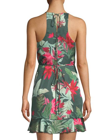 Gigi Halter Floral-Print Mini Wrap Dress