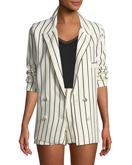 Lovers And Friends Fanning Striped Double-Breasted Linen Blazer
