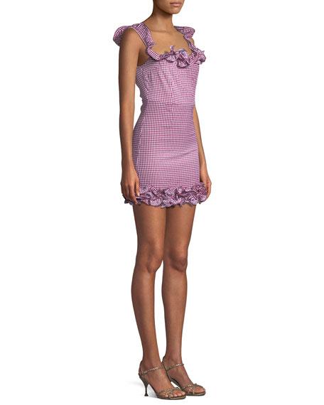 Dustin Checked Ruffle Mini Dress
