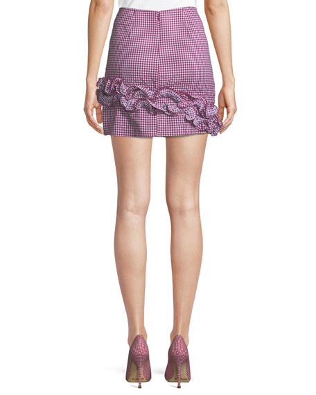 Ballard Checked Ruffle Mini Skirt