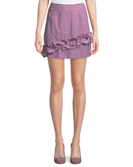 Lovers And Friends Ballard Checked Ruffle Mini Skirt