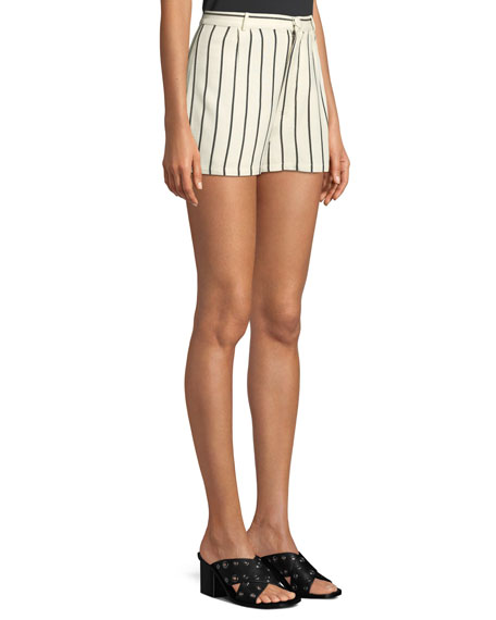 Jordy Striped Pintuck Linen Shorts