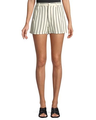 Jordy Striped Pintuck Linen Shorts