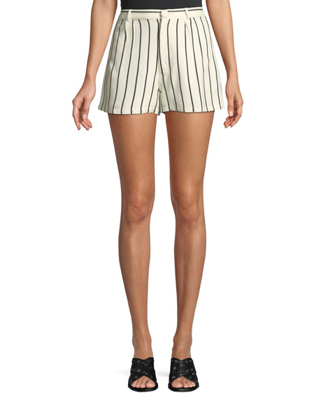Lovers And Friends Jordy Striped Pintuck Linen Shorts