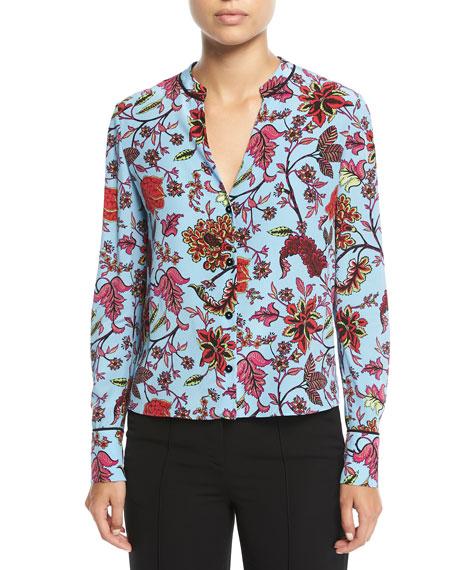 Long-Sleeve V-Neck Silk Shirt