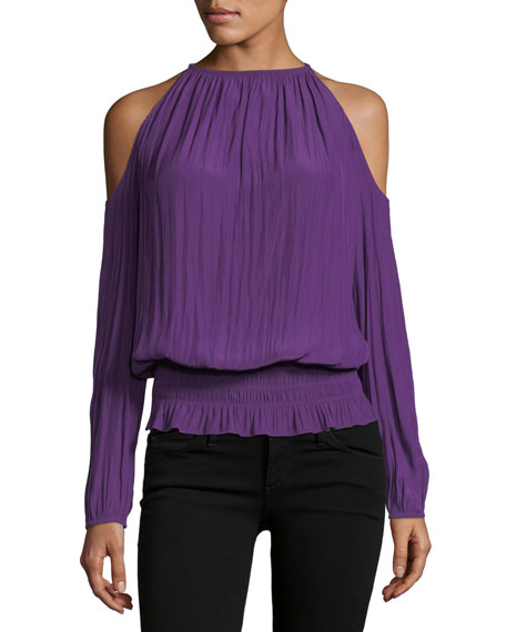 Ramy Brook Lauren Cold-Shoulder Smocked-Waist Top, Dark Purple
