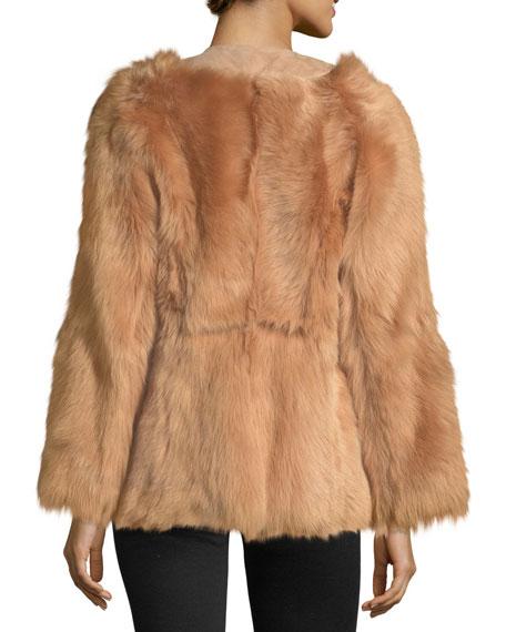 Long-Sleeve Fur Wrap Jacket